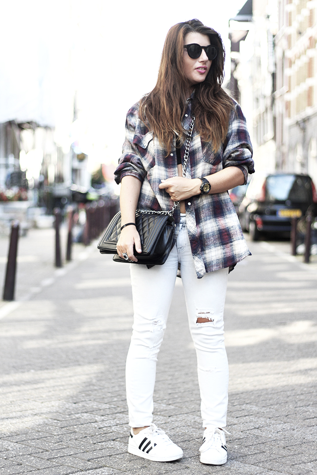 Checked blouse - ripped jeans - 7 for all mankind - adidas1