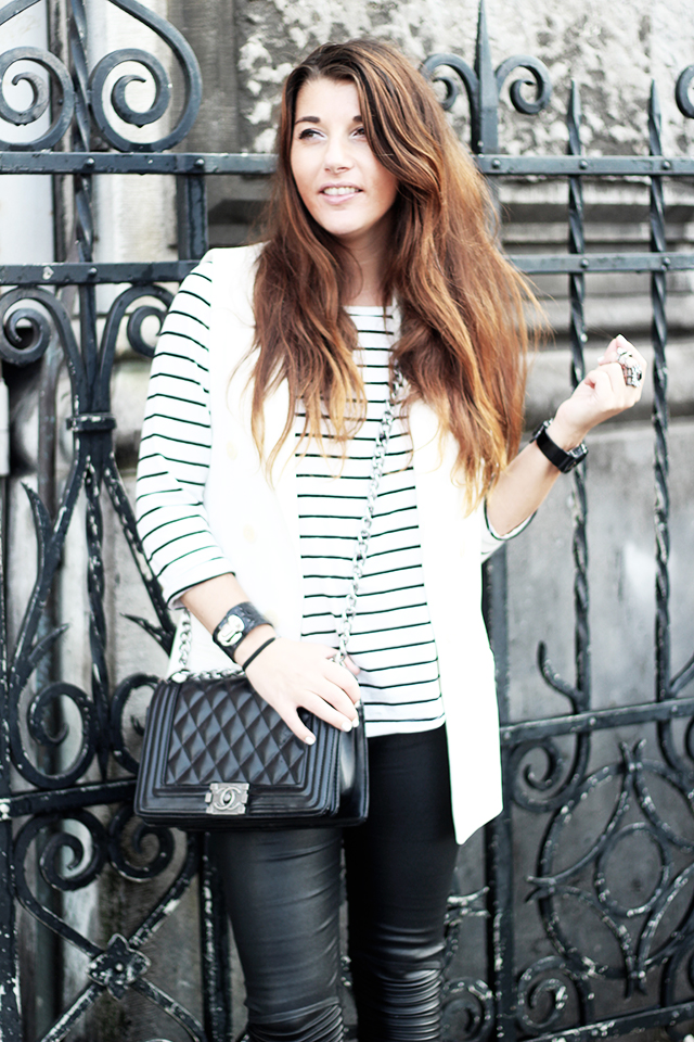 Holographic shoes - chicwish - leather pants - paris2day - striped top5