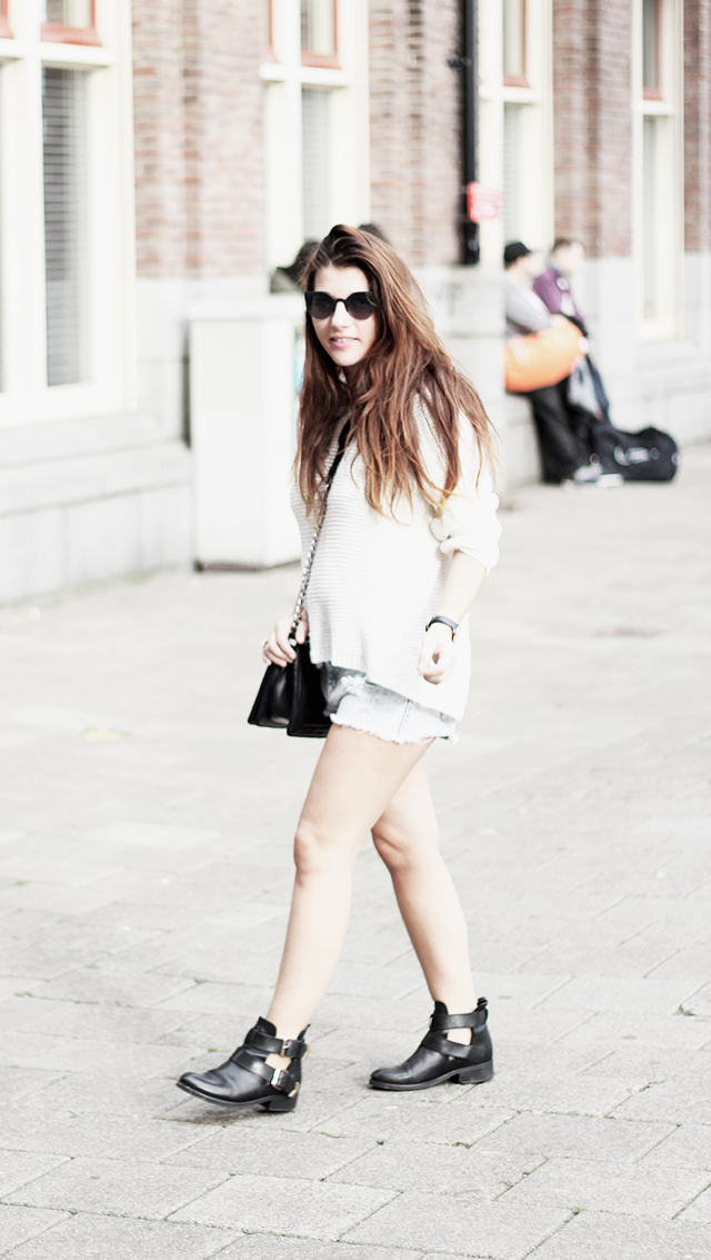 Sweater HM - Shorts Forever21 - Cut-out boots9