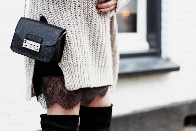 Big knit - Lace slipdress - overknee boots - Furla bag4