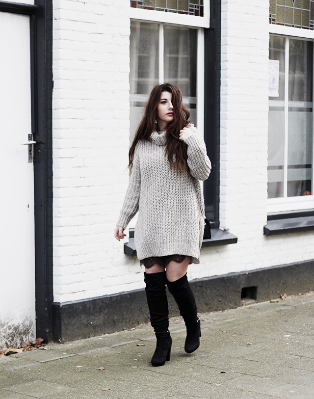 Big knit - Lace slipdress - overknee boots - Furla bag5