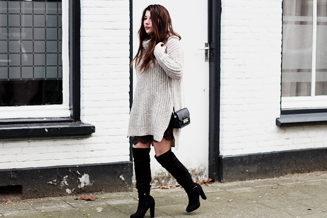 Big knit - Lace slipdress - overknee boots - Furla bag6