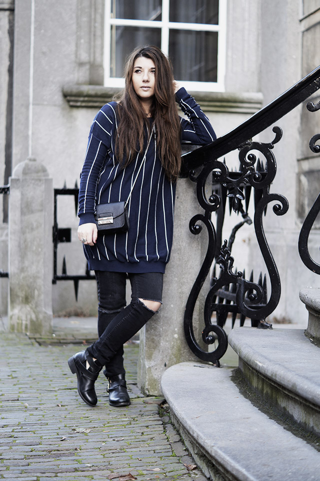 Pinstripe sweater - primark - Mango - cut-out-boots17