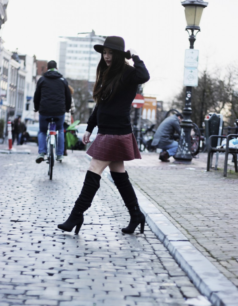 red skirt - chicwish - sweater - overknee boots zalando 11