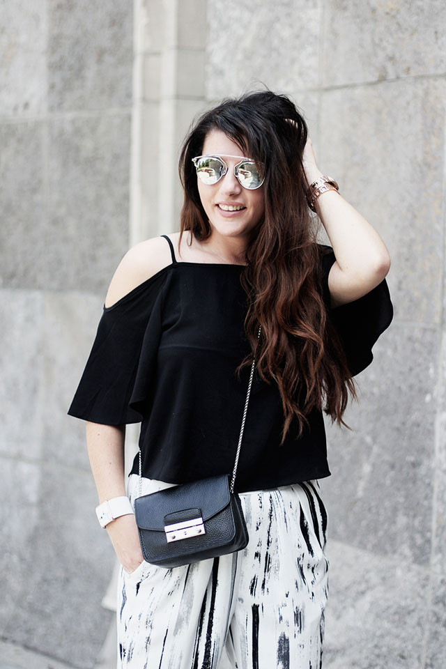 off-shoulder top - loavies - Monki pants - Sacha shoes - sunglasses stylereportoire 1
