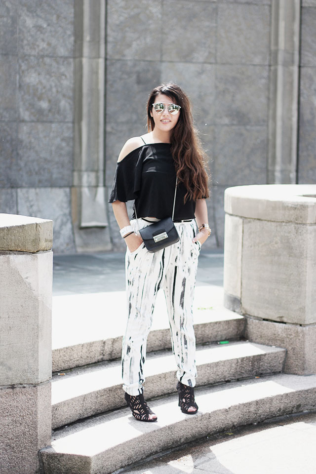 off-shoulder top - loavies - Monki pants - Sacha shoes - sunglasses stylereportoire 2