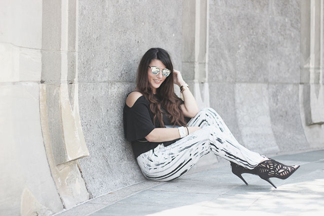 off-shoulder top - loavies - Monki pants - Sacha shoes - sunglasses stylereportoire 4
