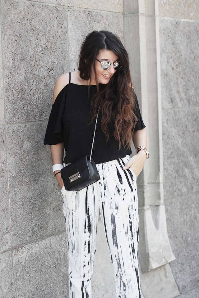 off-shoulder top - loavies - Monki pants - Sacha shoes - sunglasses stylereportoire 6