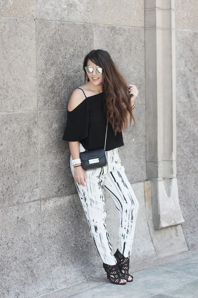 off-shoulder top - loavies - Monki pants - Sacha shoes - sunglasses stylereportoire 7