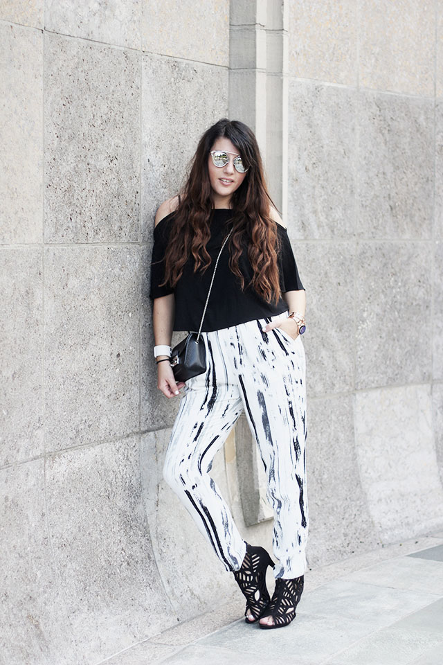 off-shoulder top - loavies - Monki pants - Sacha shoes - sunglasses stylereportoire 8