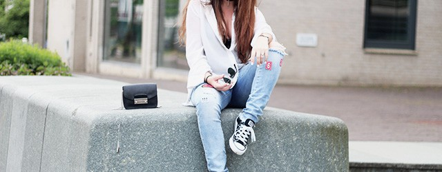 Loavies denim patch jeans - loavies bodycon - rayban sunglasses - All Stars America Today - furla 1